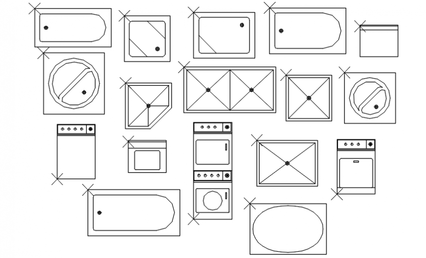 Bath & Laundry Fixtures .dwg file
