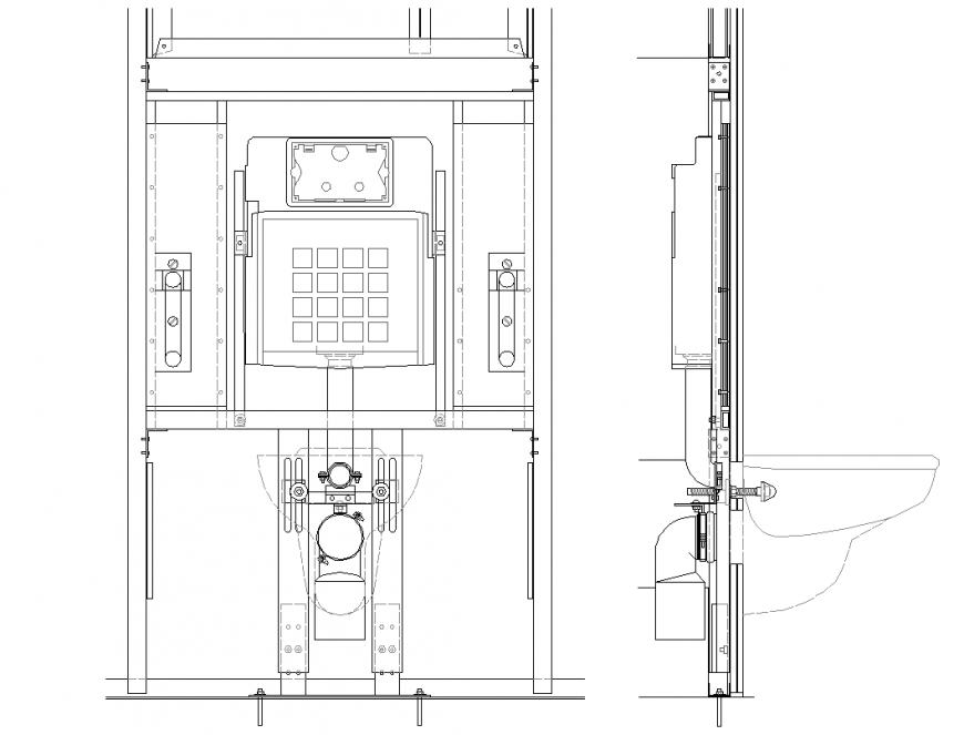 Bath mating in dry wall partition elevation plan autocad file