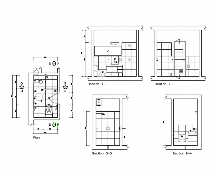 Bathroom all sided sectional and plan details dwg file