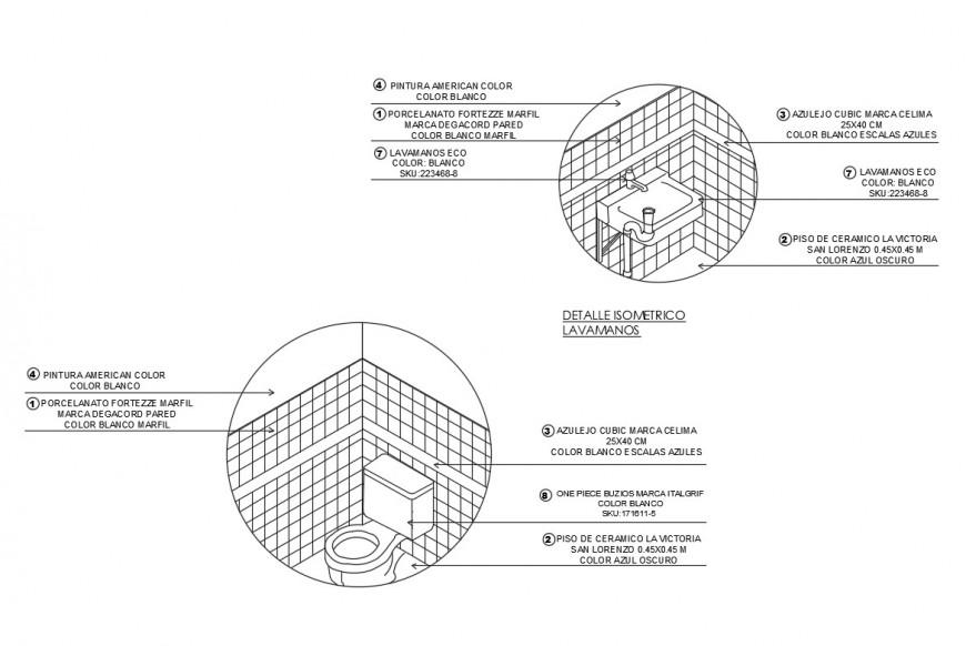 Bathroom and toilet constructive plumbing details dwg file