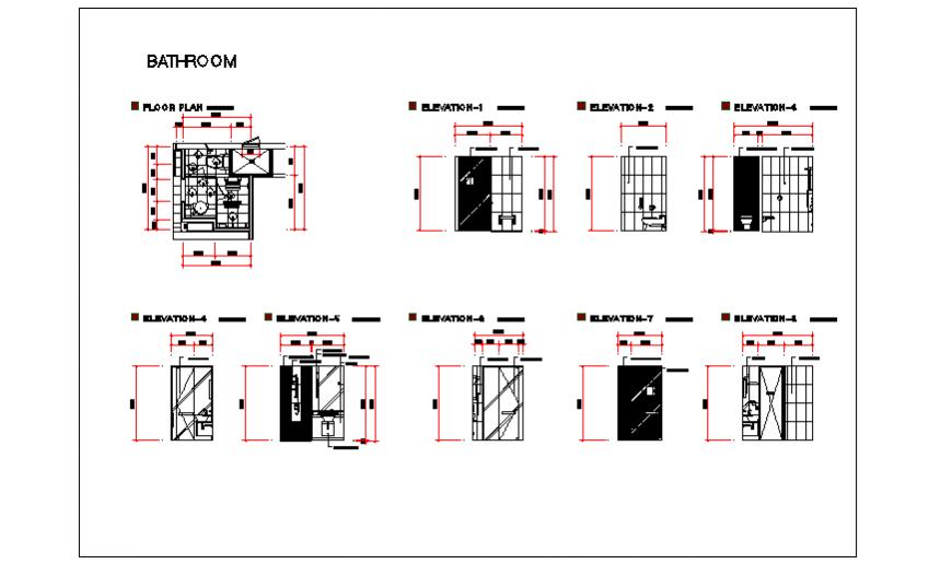 Bathroom design drawing of Hotel room project design