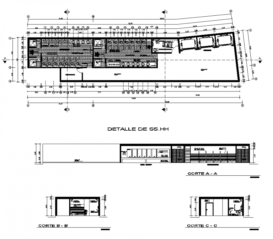 Bathroom detail structure plan and section 2d view autocad file