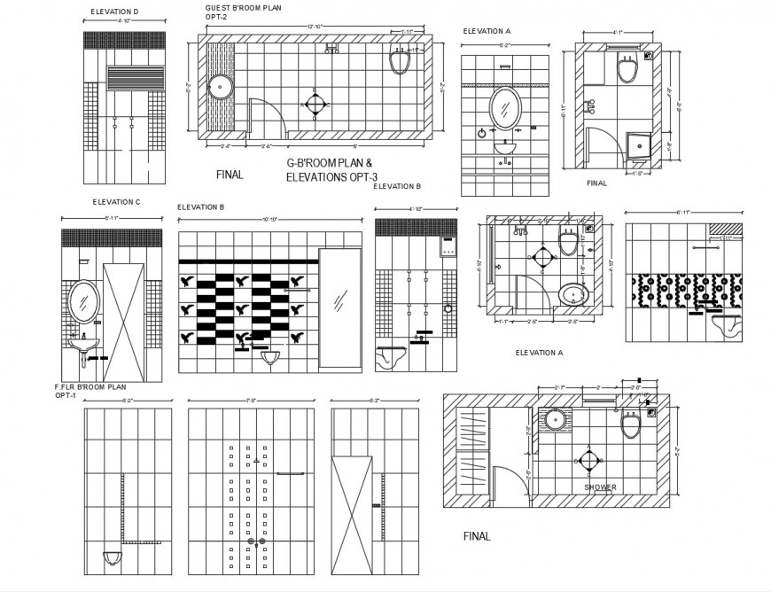 Bathroom elevation, plans and sanitary installation cad drawing details dwg file