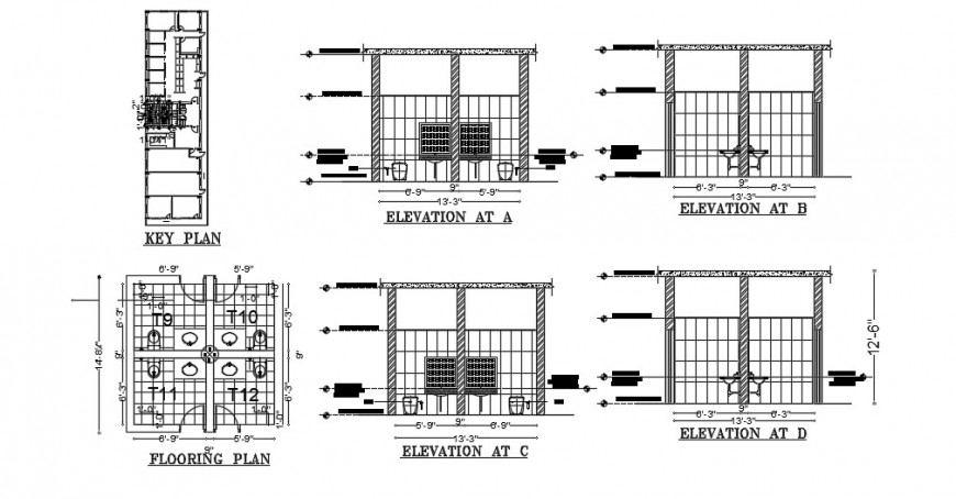 Bathroom elevation, section, plan, key plan and installation drawing details dwg file