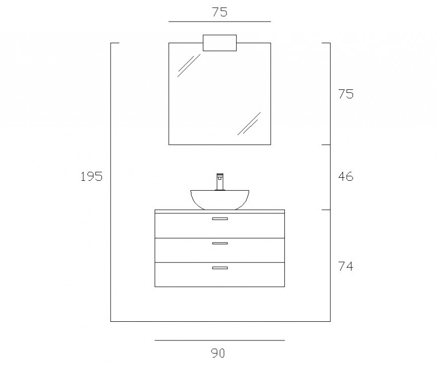 Bathroom furniture block detail CAD block layout file in dwg format