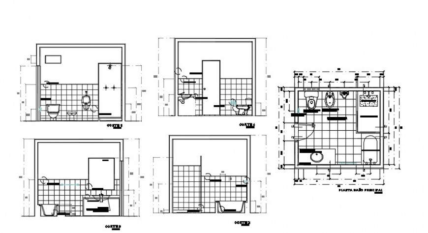 Bathroom interior project furniture detail dwg file