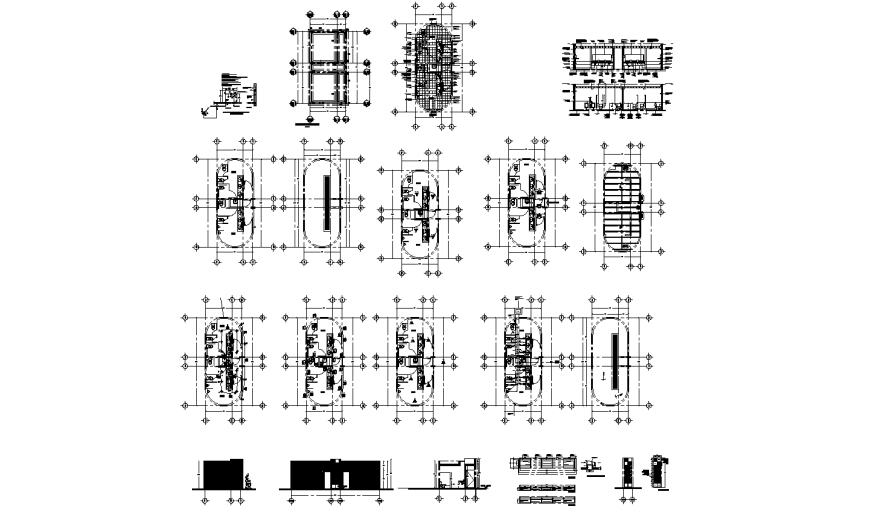 Bathroom module elevation, section, plan and sanitary installation with construction details dwg file