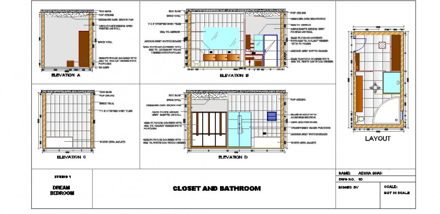 Bathroom of bedroom section, plan and sanitary installation auto-cad drawing details dwg file