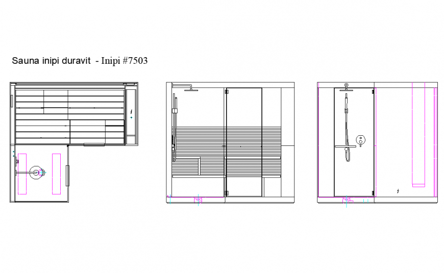 Bathroom plan and elevation detail dwg file
