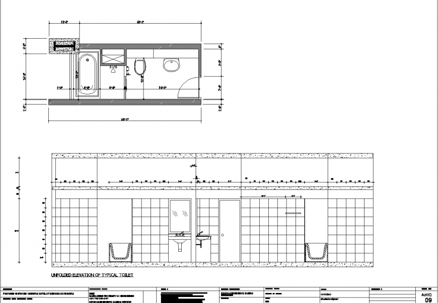 Bathroom plan and elevation drawing in dwg file.