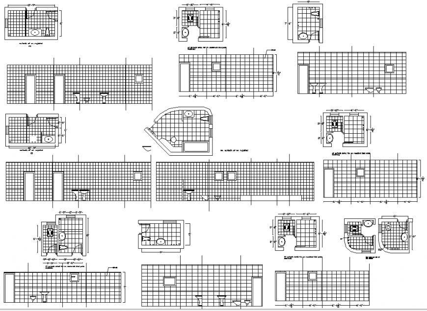 Bathroom plan detail of dwg file.