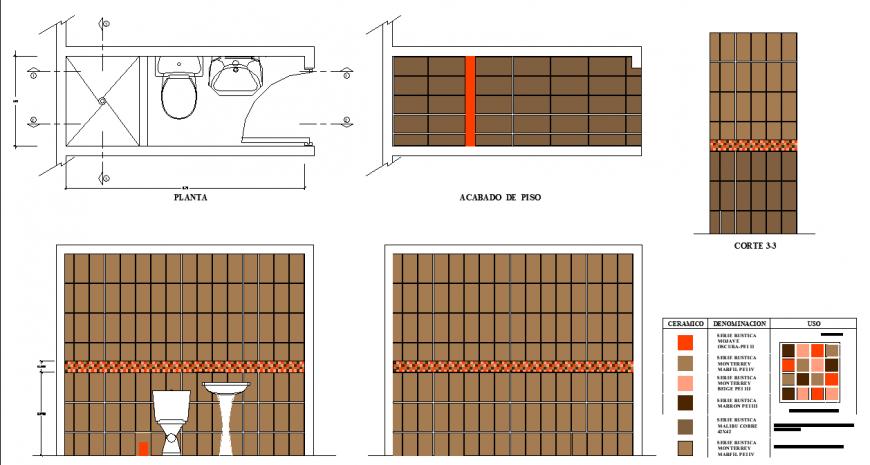 Bathroom plan detailing dwg file.