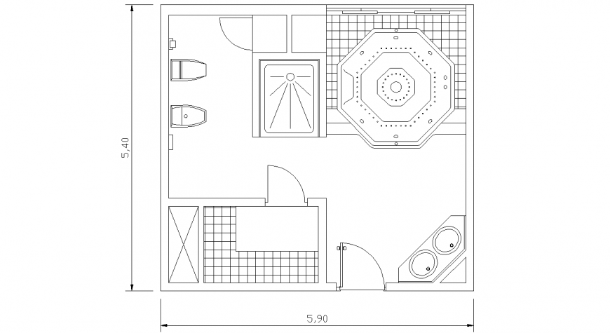 Bathroom plan with detail dwg file.
