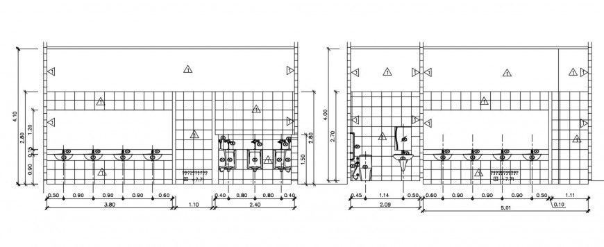Bathroom section and elevation design autocad file