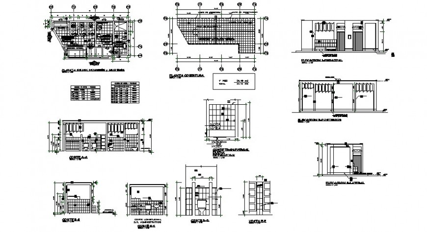 Bathroom sections, plan and installation drawing details for school dwg file