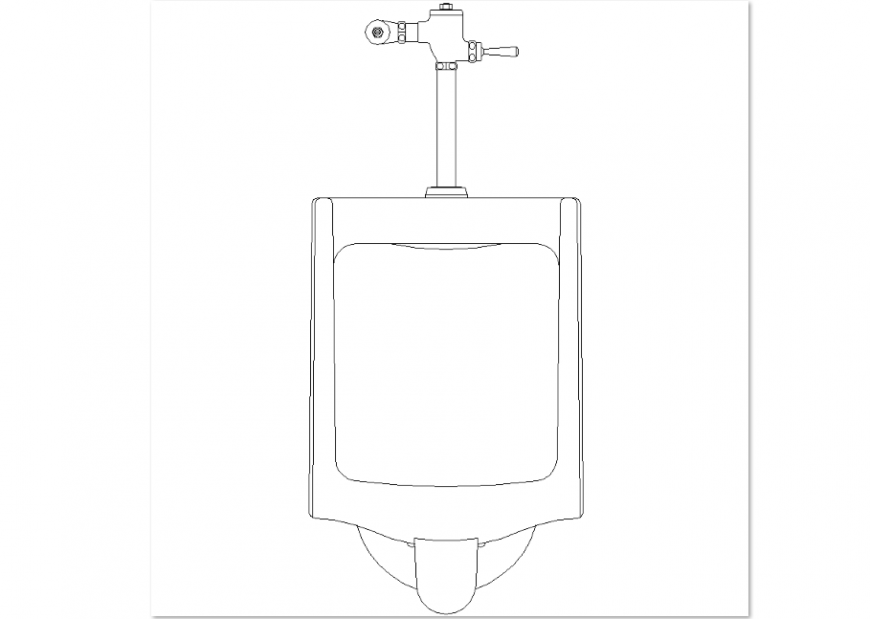 Bathroom urinal design view with view of its elevation dwg file
