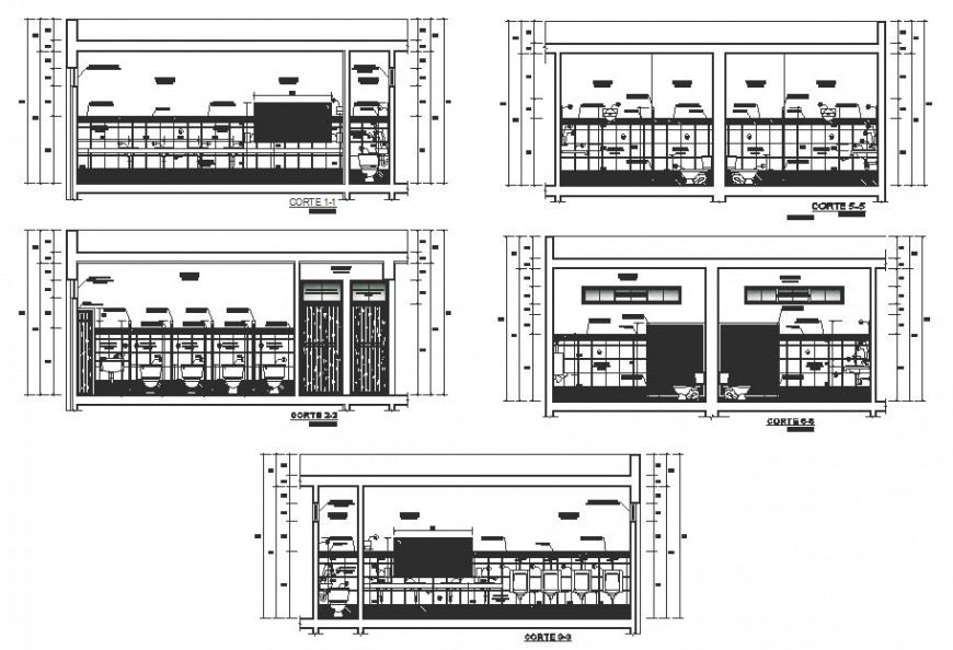 Bathrooms different section view in auto cad file