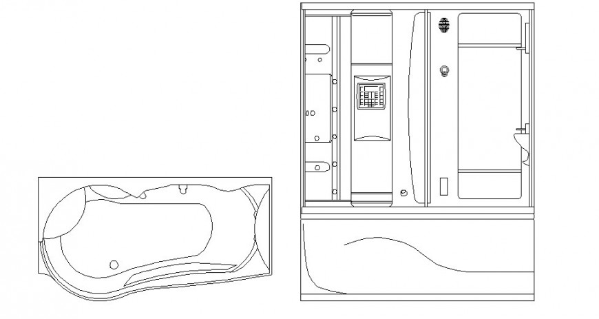 Bathtub and shower elevation autocad file