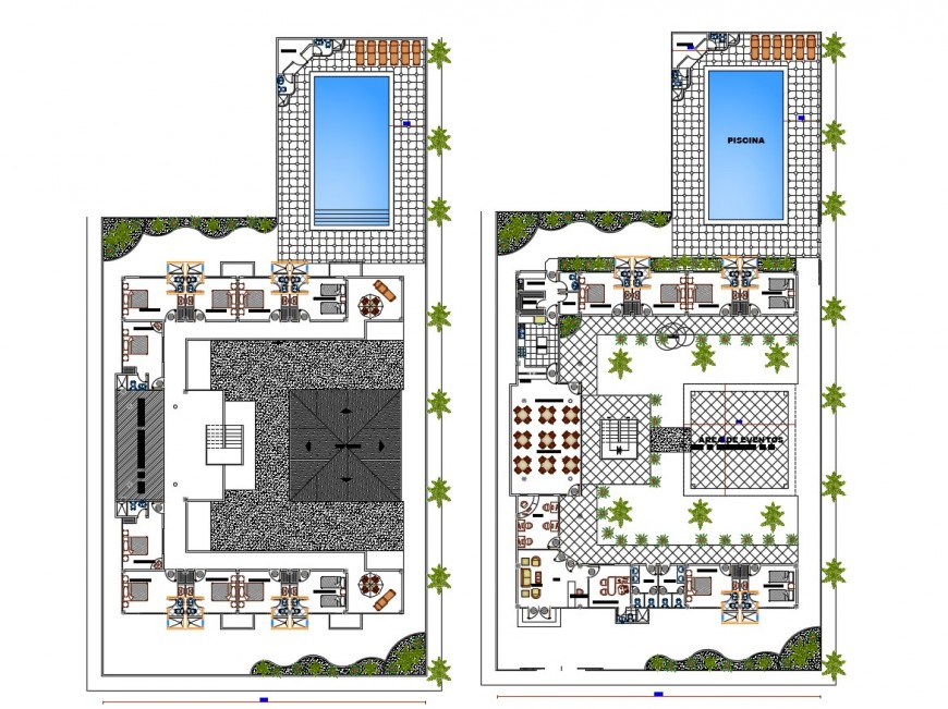 Beach hotel general plan in auto cad file