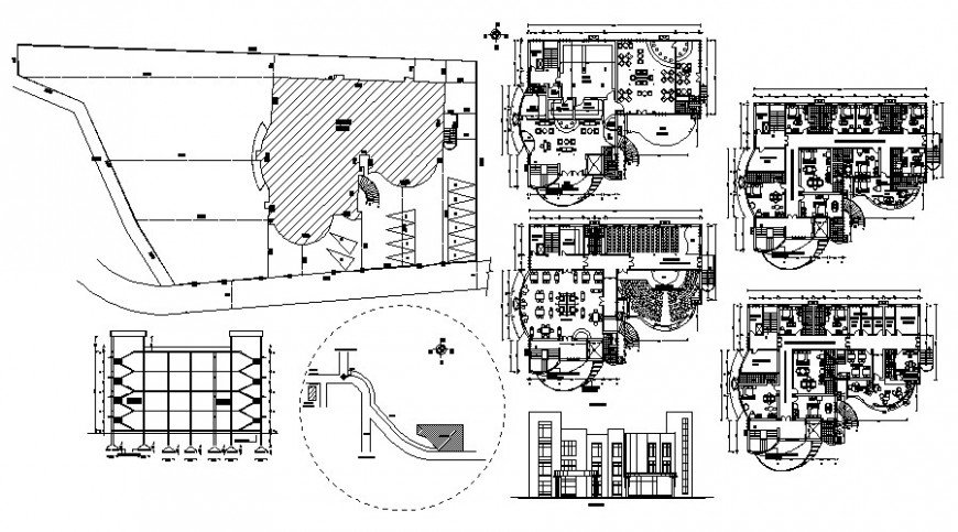 Beach hotel multi-level detailed architecture project dwg file