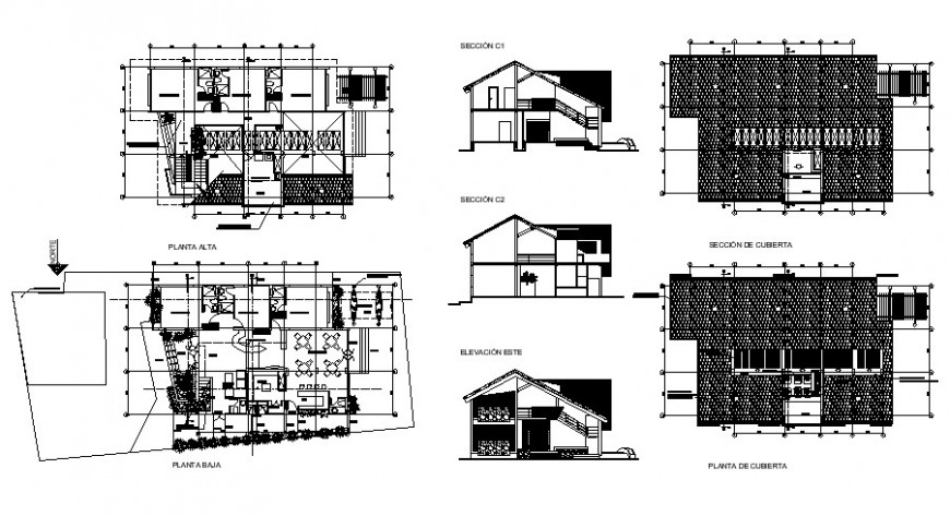 Beach house elevation, section and floor plan cad drawing details dwg file