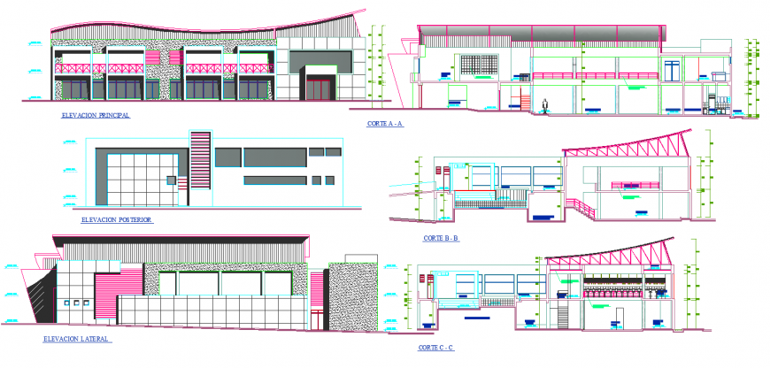Beach house elevation detail drawing in dwg AutoCAD file.