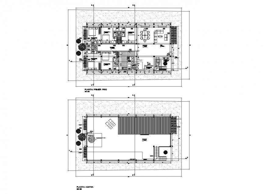 Beach house floor layout plan and cover plan cad drawing details dwg file
