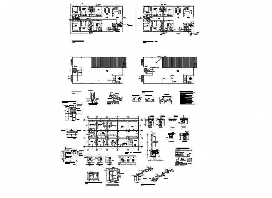 Beach house floor plan, foundation and auto-cad drawing details dwg file