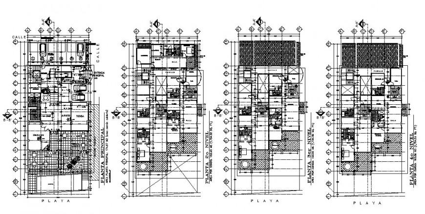 Beach house villa type four flooring floor plan distribution cad drawing details dwg file