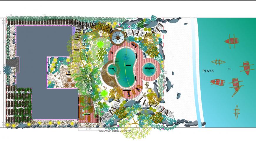 Beach landscaping design autocad file