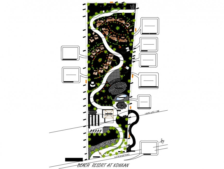 Beach resort distribution plan with landscaping and site plan cad drawing details dwg file