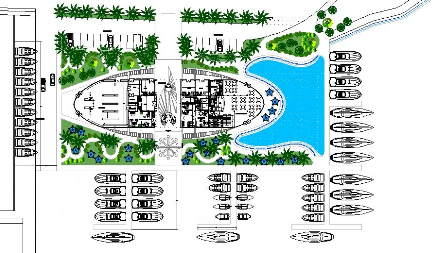 Beach side restaurant layout plan in AutoCAD file.