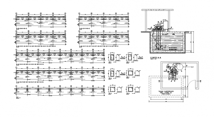 Beam and column 2d view RCC structural blocks details in autocad file