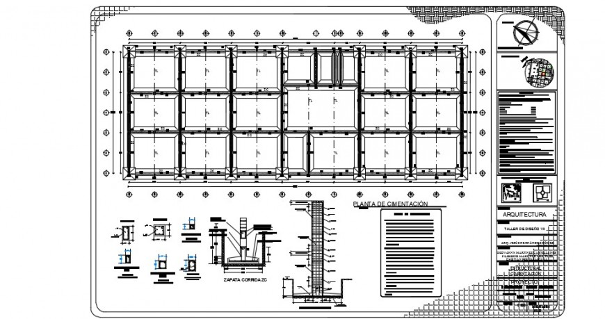 Beam and column construction plan detailing dwg file