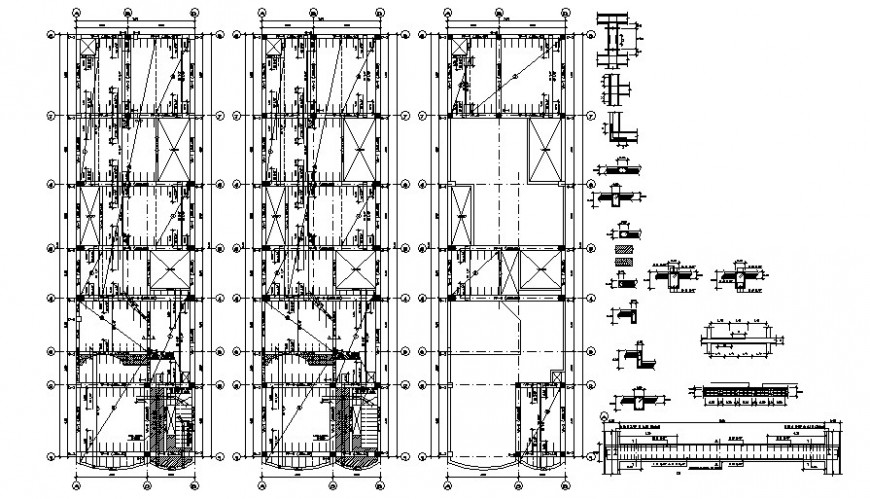 Beam to column connections details drawings 2d view of RCC structure autocad file