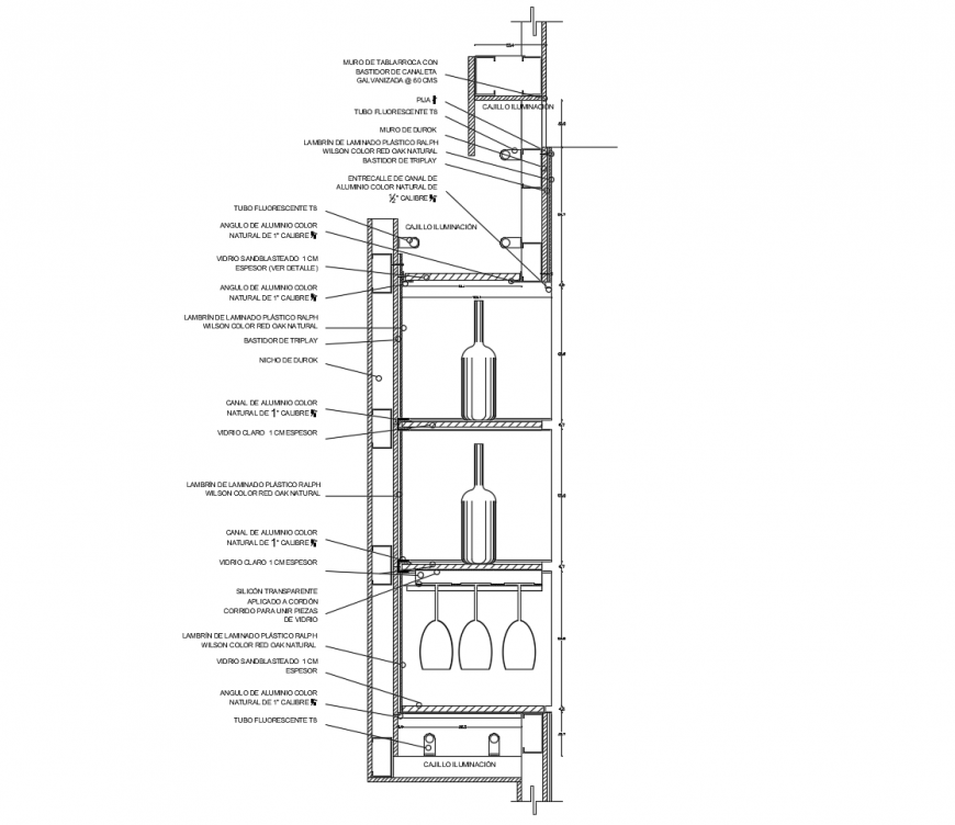 Bear bar constructive section cad drawing details dwg file
