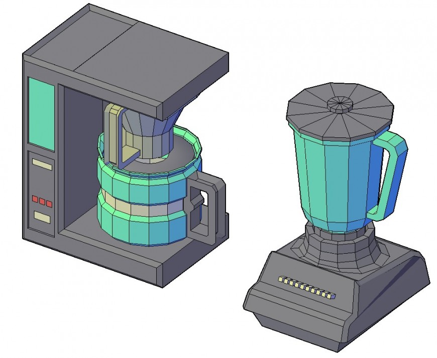 Beautiful 3d mixture and juicer elevation blocks cad drawing details dwg file
