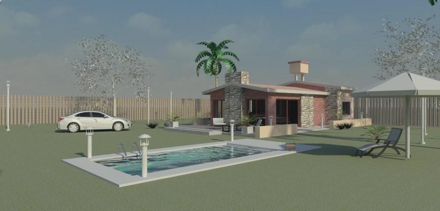 Beautiful beach house 3d model cad drawing details jpg file