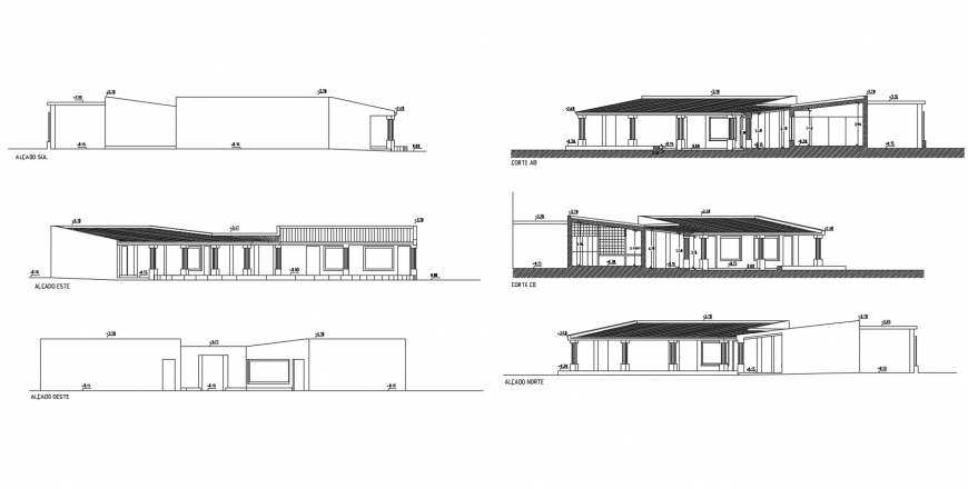 Beautiful club house all sided elevation and section cad drawing details dwg file