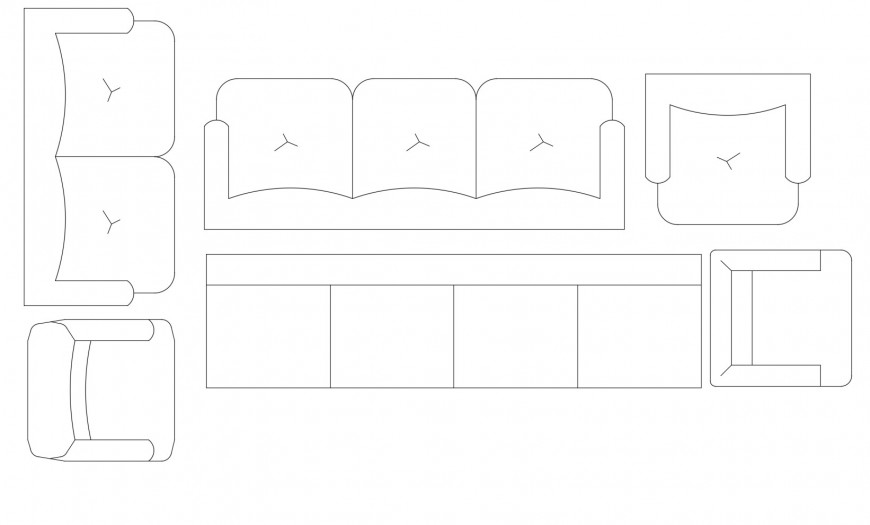 Beautiful drawing room sofa set elevation blocks cad drawing details dwg file