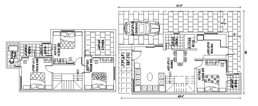 Beautiful four bedroom house floor plan auto-cad drawing details dwg file
