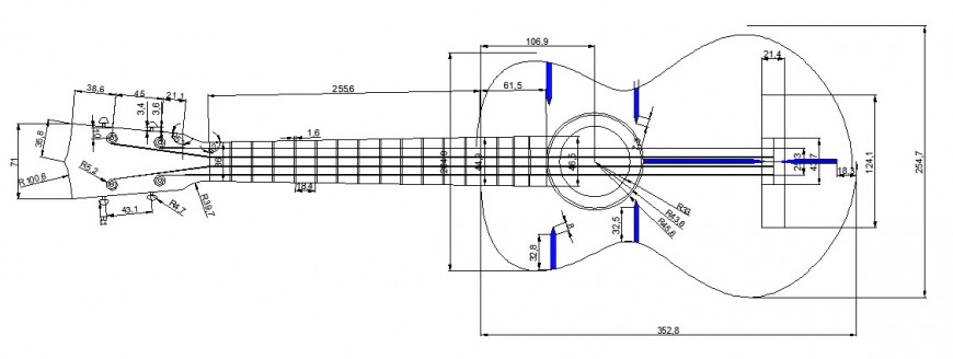 Beautiful guitar section design cad drawing details dwg file