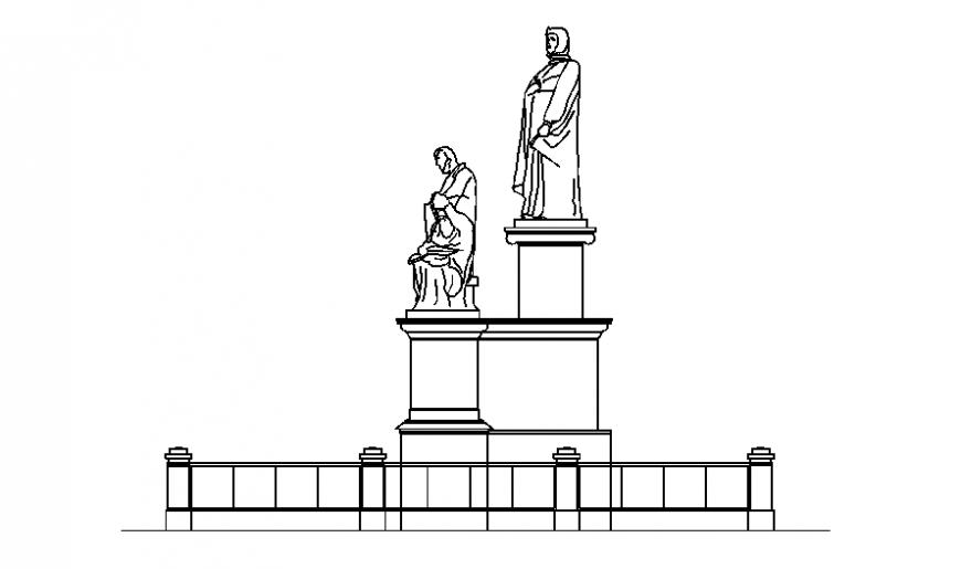 Beautiful men sculpture elevation for garden cad drawing details dwg file
