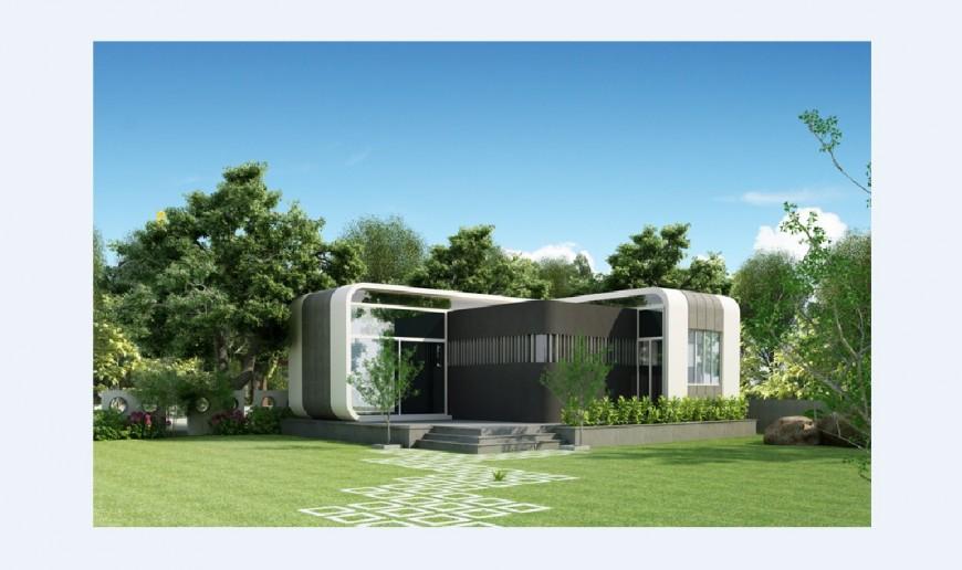 Beautiful modern 3d bungalow model cad drawing details jpg file
