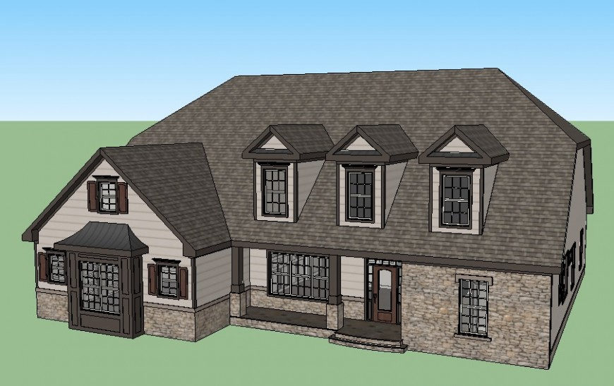 Beautiful modern one family 3d house model cad drawing details skp file