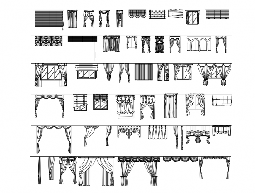 Beautiful multiple curtain sect cad drawing details dwg file