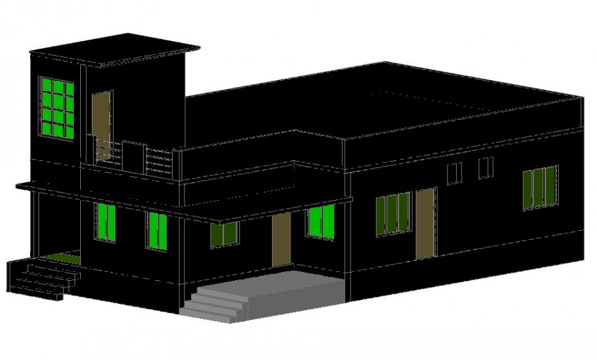 Beautiful one family 3d bungalow model cad drawing details dwg file