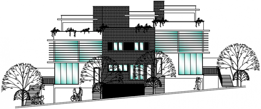 Beautiful one family house main elevation cad drawing details dwg file