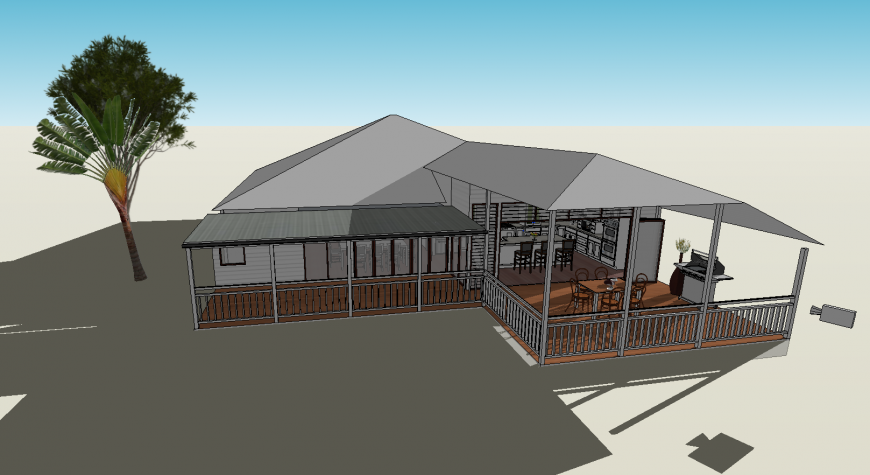 Beautiful one family roof house 3d model drawing details skp file