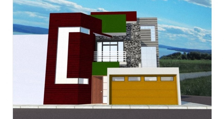 Beautiful residential 3d house front elevation drawing details jpg file